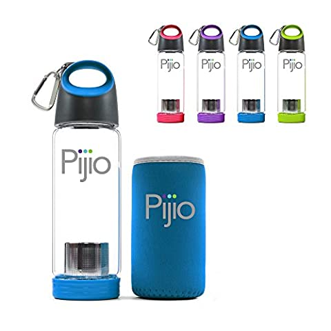 Insane Sale - Pijio Tea Infuser (Loose), Fruit Infusion, Cold Brew Coffee Maker, Infused Borosilicate Glass Water Bottle Mug. Best Travel & Sports, BPA Free (500ml 17oz) (blue)