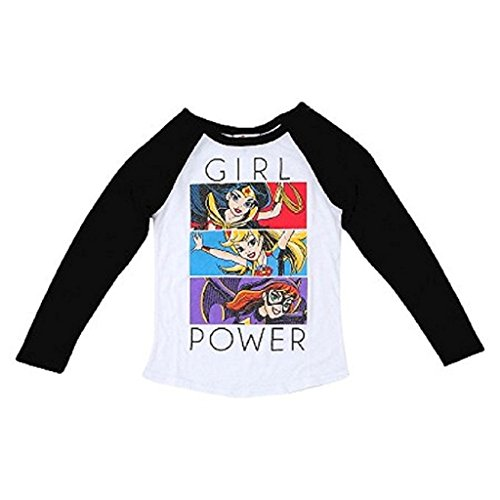 DC Super Hero Girls Rule Glitter T-Shirt Featuring Wonder Woman, Batgirl & Supergirl (LG 10/12, Black Raglan) (Dc Clothing For Kids compare prices)