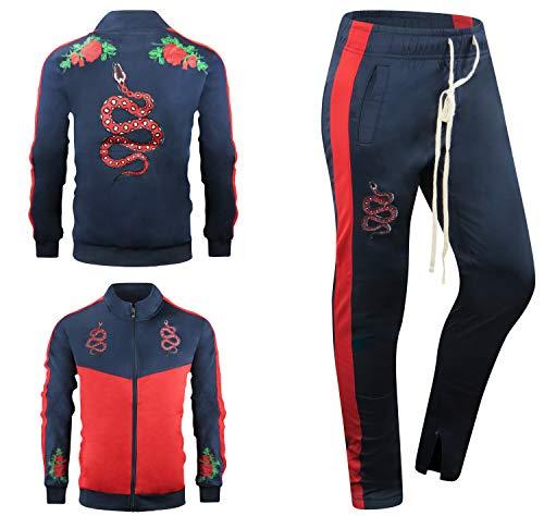 Clothes Mens Designer - ALMAS APPAREL New Men Stripe Zip Pocket Track Pants Sweatsuit Track Suit (Large, NAVY-801)