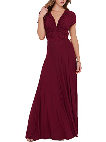 Clothink Women Burgundy Convertible Wrap Bandage Maxi Long Dress M