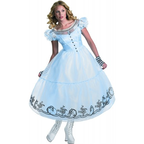 Make An Alice In Wonderland Costumes (Disguise Women's Alice in Wonderland Deluxe Costume, Blue, Medium (8-10))