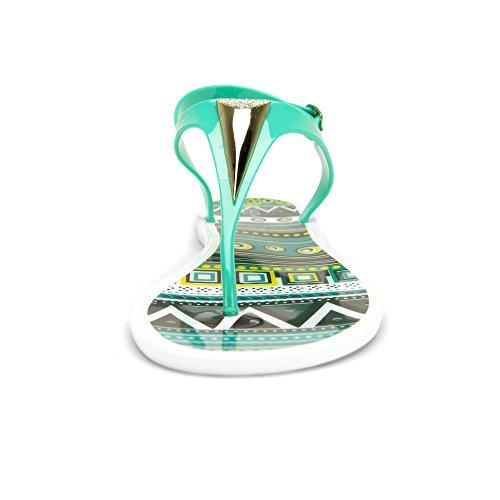 Chemistry® Eva Womens Gladiateur Romain Lanière Nœud Papillon Sandales Plates Réglables Bride À La Cheville Tongs Femmes Chaussures Vert