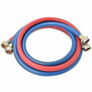 "TT FLEX UPC approved red and blue rubber washing machine fill connector inlet hose,3/4""FHT3/4""FHT,6FT"