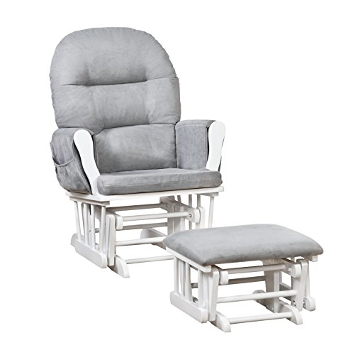 Naomi Home Brisbane Glider & Ottoman Set White/Gray ()
