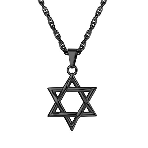PROSTEEL Black Jewish Magen Star of David Necklace Men Women Bat Mitzvah Gift Israel Judaica Hebrew Jewelry Hanukkah Pendant & Chain Adult Bat Mitzvah