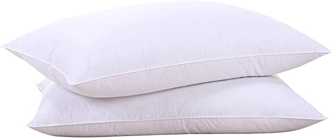 puredown® Natural Goose Down Feather White Pillow Inserts, 100% Egyptian Cotton Fabric Cover Bed Pillows, Set of 2 Standard Size