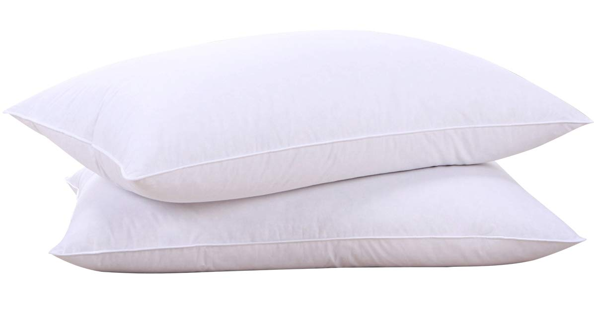 puredown Natural Goose Down Feather White Pillow Inserts for Sleeping 100% Egyptian Cotton Fabric Cover Bed Pillows Downproof Set of 2 Standard Size