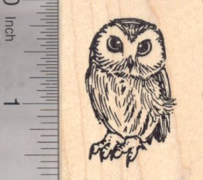 Owl Rubber (Small Owl Rubber Stamp - Wood Mounted)