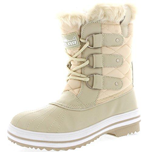 Polar Produkte Damen Schneestiefel gesteppte kurze Winter Schnee Regen warme wasserdichte Stiefel Beige