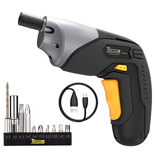 Electric Screwdriver Rechargeable Cordless, 4V Max 2000mAh Li-ion, MAX Torque 4Nm – Dual LED, Palm-Sized, Various Bits, Power Indicator, USB Charging with Cable -TDSC02P