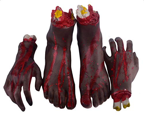 7COLOR WINGS Halloween Severed Hands Feet Set Scary Bloody Broken Body Parts Halloween Props Decorations,1 Pair 4-Pieces (Left and Right) (Feet & Hands) (B)