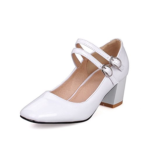 VogueZone009 Women's Buckle Square Closed Toe Kitten Heels PU Solid Pumps-Shoes White ZOqASsW