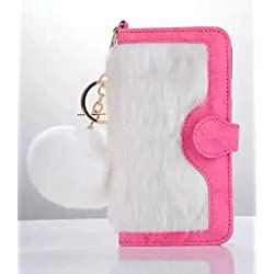 Losin iPhone 7 Plus / iPhone 8 Plus 5.5 Inch Case Fashion Fluffy Rex Rabbit Fur Wallet Flip Plush Ball PU Leather Case