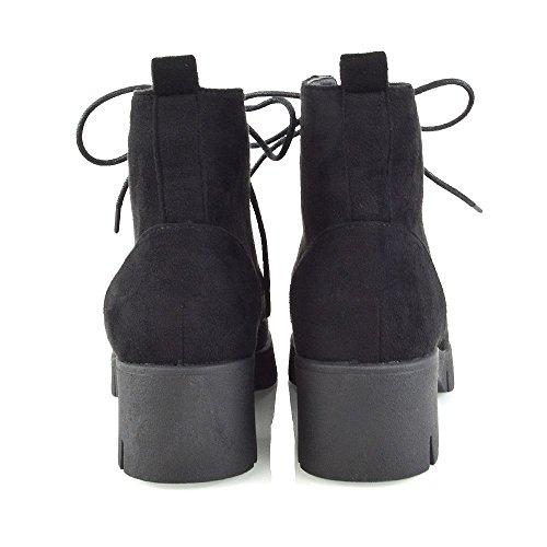 Essex Glam Scarpe Da Donna Stringate Con Tacco Stivaletti Tacco Caviglia Nero Ecopelle Scamosciata