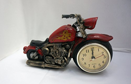Classy Biker Hog Shaped Wood Look Resin Table Clock, Shabby Chic, Great Table Top Decor