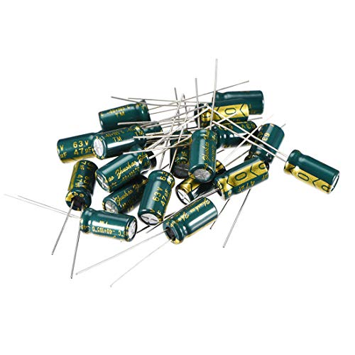 uxcell Aluminum Radial Electrolytic Capacitor Low ESR Green with 47uF 63V 105 Celsius Life 3000H 6.3 x 12 mm High Ripple Current,Low Impedance 20pcs (63v Aluminum Electrolytic Capacitor Radial)