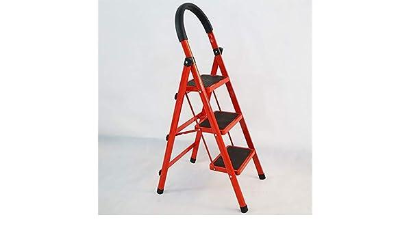 WOAINI Escalera plegable de 3 pasos Escalera plegable Escalera de 3 escaleras con empuñadura antideslizante y pedales anchos Escalera de acero resistente 330 lbs Combo rojo y negro (escalera de 3 etap: