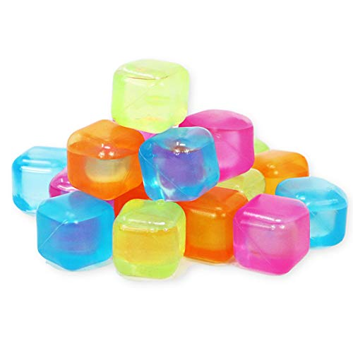 Reusable Ice Cubes - Colored Plastic Square Ice Cubes for Drinks Cocktails Beer Wine Whiskey Party Favors - Non-Diluting Ice Cubes - BPA Free - Purified Water Filled - 18 -