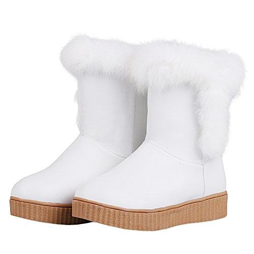 Latasa Womens Stivali Di Pelliccia Sintetica Breve Slouch Inverno Neve Stivali Bianco (ecopelle)