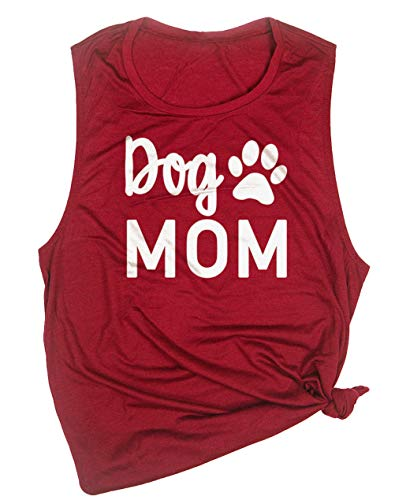 MOMOER Dog Mom Muscle Tank Top Womens O Neck Sleeveless Dog Paws Graphic Tees Summer Funny Racerback Cami Red