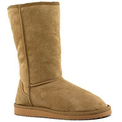Soda Women's Soong Comfort Faux Suede Fur Mid- Calf Flat Boot, NAT, 8 M US by Soda