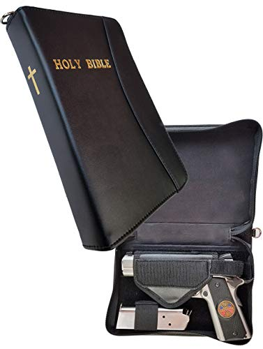 Garrison Grip Leather Bible Gun Case for Carry or Storage with Gold Leaf Letters for LG & SM Guns (Handgun Conceal Carry Case)