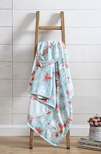 All American Collection Jasmine Aqua Plush Throw | Decorative Abstract Floral Design | Great For Couch Bedroom Or Travel | Unique Accent Piece Ultra Soft | Multi-Purpose Plush Throw 50x70 Inches