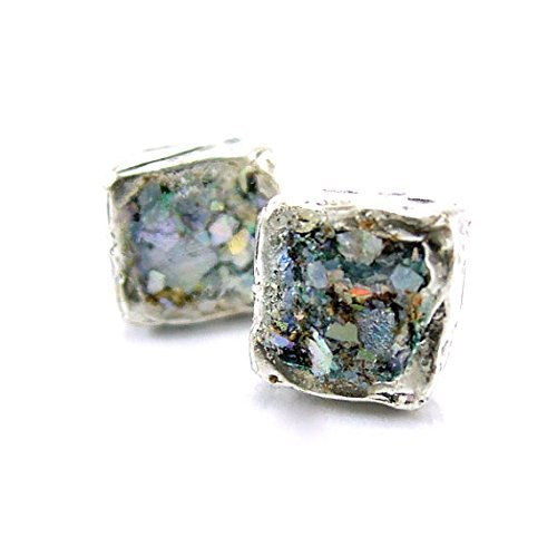 Silver square post earrings with ancient roman glass
