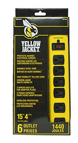Yellow Jacket 5138N 5138 Metal Surge Protector Strip, 15-Foot Cord, 6-Outlet ()