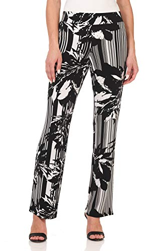 (Rekucci Travel in Style - Women's Classic Straight Leg Pant (Large,Black/Ivory Blooming Stripe))