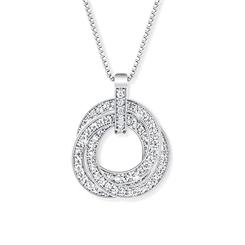 YALONG Trinity Pendant Necklace for CZ Women Jewelry with White Gold Plated & Cubic Zirconia Stone, 15 +2 Extender