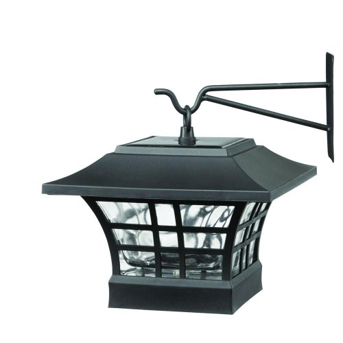Lot of 2 - Solar Black LED Deck Post Light Fixture with Glass Lens (Hampton Bay Fixtures)