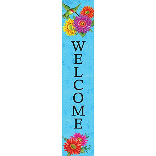 Hummingbird Gerberas Welcome - Yard Expression Sign - 6 inch x 30 inch PVC sign Licensed, Trademarked, Copyright by Custom Decor Inc. Made in the USA!