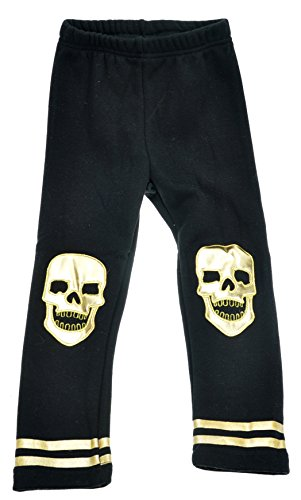 DOKI Little Girls' Cotton And Spandex And Polyester Skull Printed base pants 4T Black