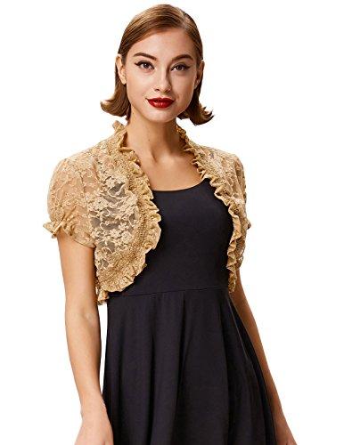 Belle Poque Lace Short Sleeve Bolero Shrug Jacket Cardigan Khaki Size L BP478-3 by Belle Poque