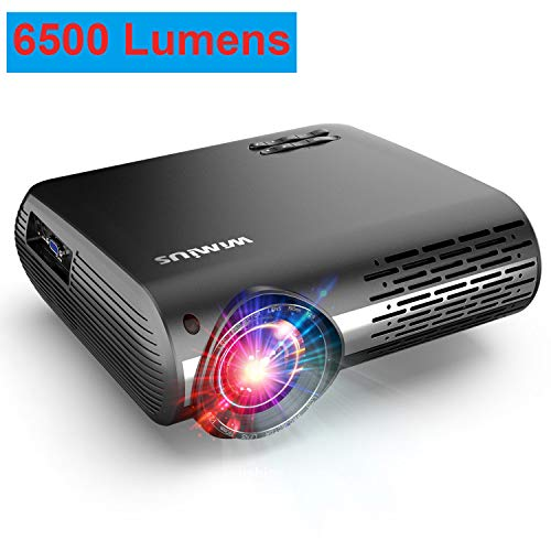 Projector, WiMiUS Upgrade 6500 Lumens Projector Native 1920x1080 Video Projector Support 4K Netflix 300'' Display, 4D ±50° Keystone Correction, Zoom Function for Movies and PPT Presentation