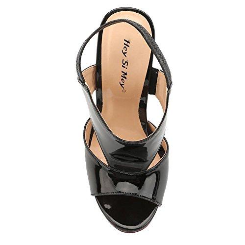D'Été black L Slope PU Black YC Casual Femmes avec Chaussures Pour Talons Pour Confort z1OzqxXrw