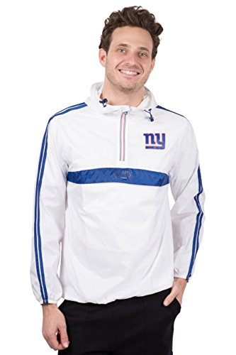 Icer Brands NFL New York Giants Men's Hoodie Windbreaker Waterproof Shell Jacket, X-Large, White