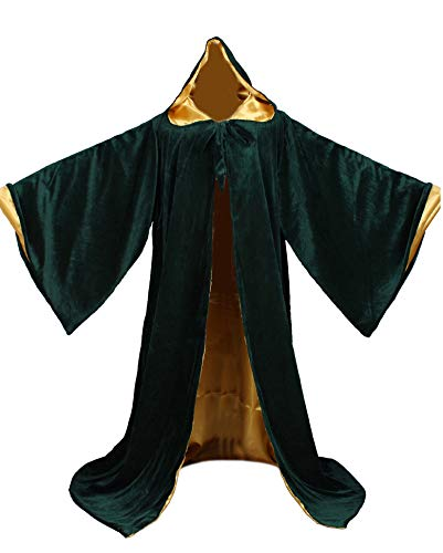 LuckyMjmy Velvet Wizard Robe with Satin Lined Hood and Sleeves (Dark Green-Gold)]()
