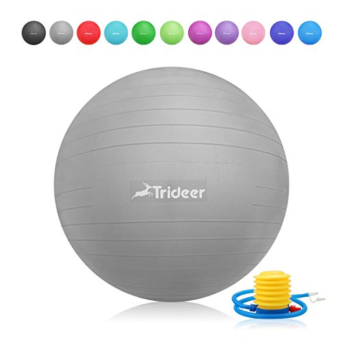 New Ball Joint - Trideer Exercise Ball (45-85cm) Extra Thick Yoga Ball Chair, Anti-Burst Heavy Duty Stability Ball Supports 2200lbs, Birthing Ball Quick Pump (Office & Home & Gym) (Silver New, 55cm)