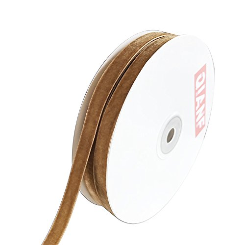 QIANF Vintage Khaki Velvet Ribbon, 3/8