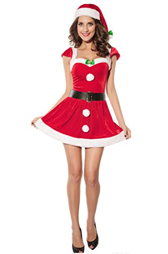 Prettywell Womens Cosplay Sexy Short Sleeve Santa Dress Stage Outfit 7170 (Sexy Nerd Costume)