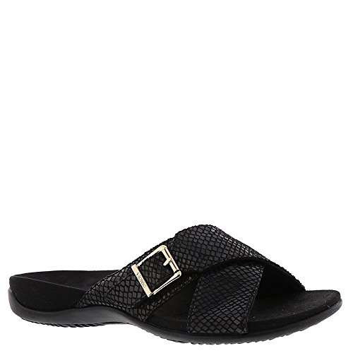 Vionic Womens Dorie Open Toe Casual Slide Sandals, Black Sna