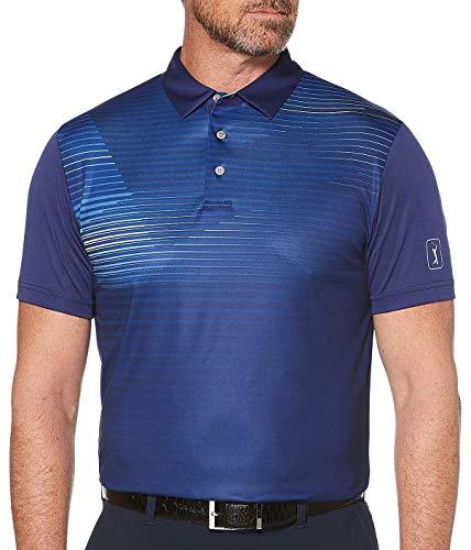 PGA TOUR Men's Short Sleeve Printed Polo Shirt, Linear Abstract Blueprint, XL