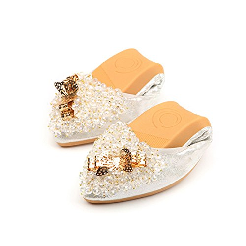 Casual Plus Flats Women Cloth Bead 10 Loafers 2018 Shoes String Folding 062 Size Spring Sequined Kenavinca Ladies Driving Woman Black Ballet Flats EB7XwnqB