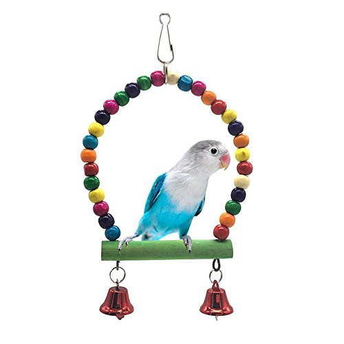 Croppycute Colourful Ringer Bells Bridge Ladder Climbing Swing Pet Toy for Bird Parrot African Greys Macaw Budgies Parakeet Cockatiels Cockatoo Conure Lovebird Finch Cage Perch (Type 4)