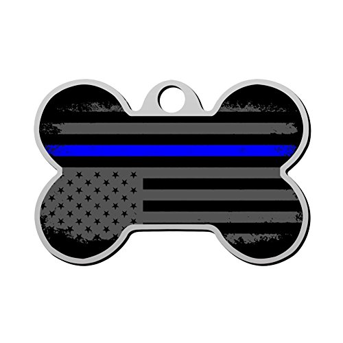 haopengyou Custom Thin Blue Line American Flag Pet ID Tag for Dog Personalized Front and Back Bone Shape Dog Tags 3D printing Funny Humorous Graphic