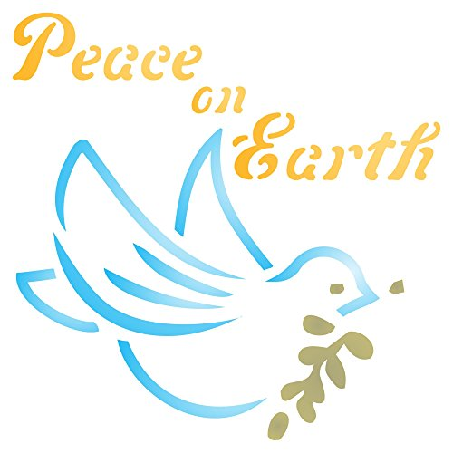 """Peace on Earth Stencil - (size 3.25""""w x 3.25""""h) Reusable Wall Stencils for Painting - Best Quality Christmas Card Dove of Peace Ideas - Use on Walls, Floors, Fabrics, Glass, Wood, Paper, and More…"""