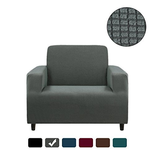RUBEDER Stretch Chair Cover Armchair Sofa Slipcover 1-Piece Jacquard Polyester Spandex Fabric Elastic Furniture Protector (Polar Fleece Plaid, Grey)