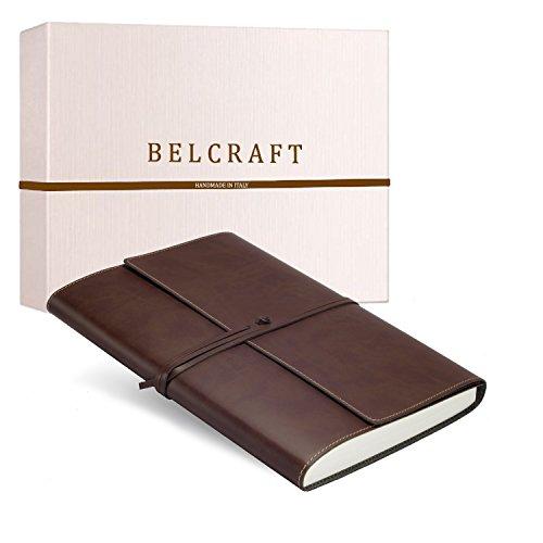 Vietri Classico A4 großes Notizbuch aus recyceltem Leder, Handgearbeitet in klassischem Italienischem Stil, Geschenkschachtel inklusive, Tagebuch A4 (21x30 cm) Braun